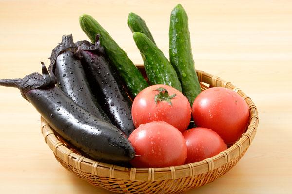 水滴のついた夏野菜集合 画像 ナス トマト キュウリ フリー写真素材